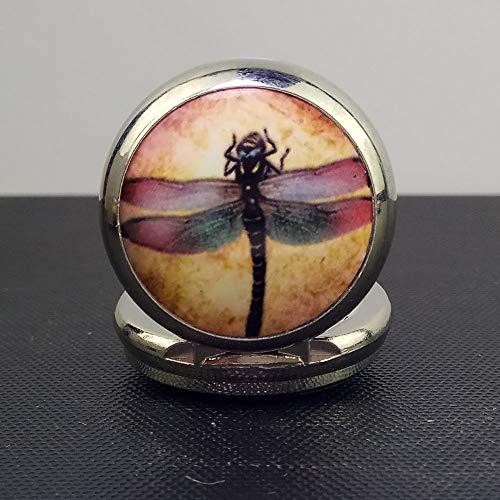 YBFZW Taschenuhr Kette,Vintage Elegante Personalisierte Antikweiß Stahl-Email Dragonfly Quarzwerk Gravur Digitale Taschenuhr Kette Geeignet Für Hochzeit Weihnachten Geburtstagsgeschenk