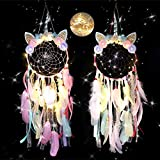 EOGAIL LED Creative Dream Catcher Wall Decor, Adorable Unicorn Decor Dream Catcher, Handmade Feather Dream Catcher for Girls Kids Bedroom Cute Decoration Blessing Gift