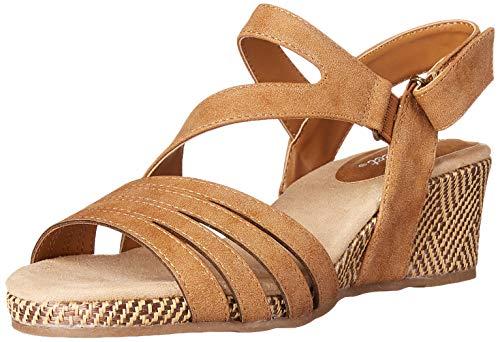 Easy Street womens Espadrille Wedge Sandal, Tan, 8.5 X-Wide US