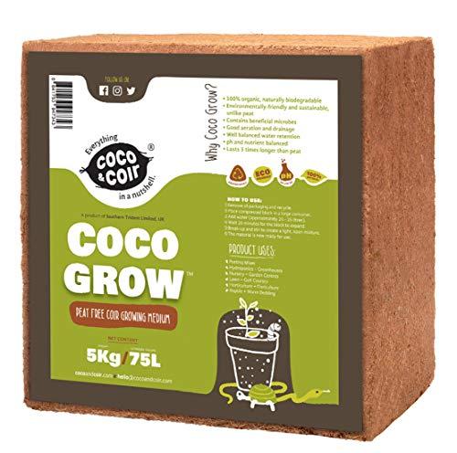 70L (5KG) Fibre de coco pressé | Sans tourbe | 100% pure | Substrat de noix de coco pour terrarium | Terre de coco pour Fleurs | Terreau pour fruits, légumes | Aucun additif de fertilisant
