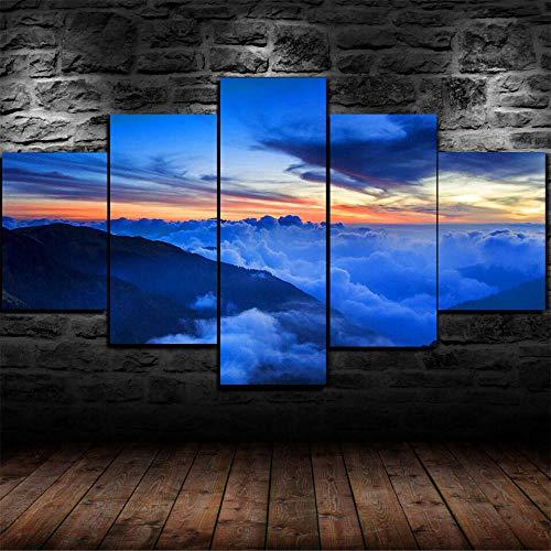 5 Teilig Bilder Leinwand,Leinwanddrucke 5 Stück,Leinwanddrucke Wanddekoratio 5 Teiliges Wandbild,Bilder Wohnzimmer Modern Mit Rahmen,3D Xxl Bilder,Wohnzimmer,150X80Cm Himmel Sonnenaufgang Erde