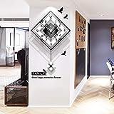 NgFTG Moderne Dekorative Wanduhr Mit Pendel, Großes Quadratische Einfache Pendel Uhr,Holz Schwarz Weiß Für Wohnzimmer Café Restaurant-schwarz 42x56cm(17x22inch)