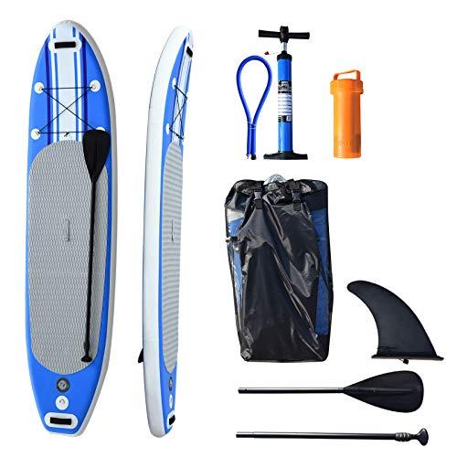 HOMCOM Tabla de Surf Hinchable con Remo Ajustable y Bomba 305x76x15cm Tablas Paddle Surf con 3 Aletas para Mayor Estabilidad Kit de Reparación Bolsa de Transporte Ideal para Principiantes