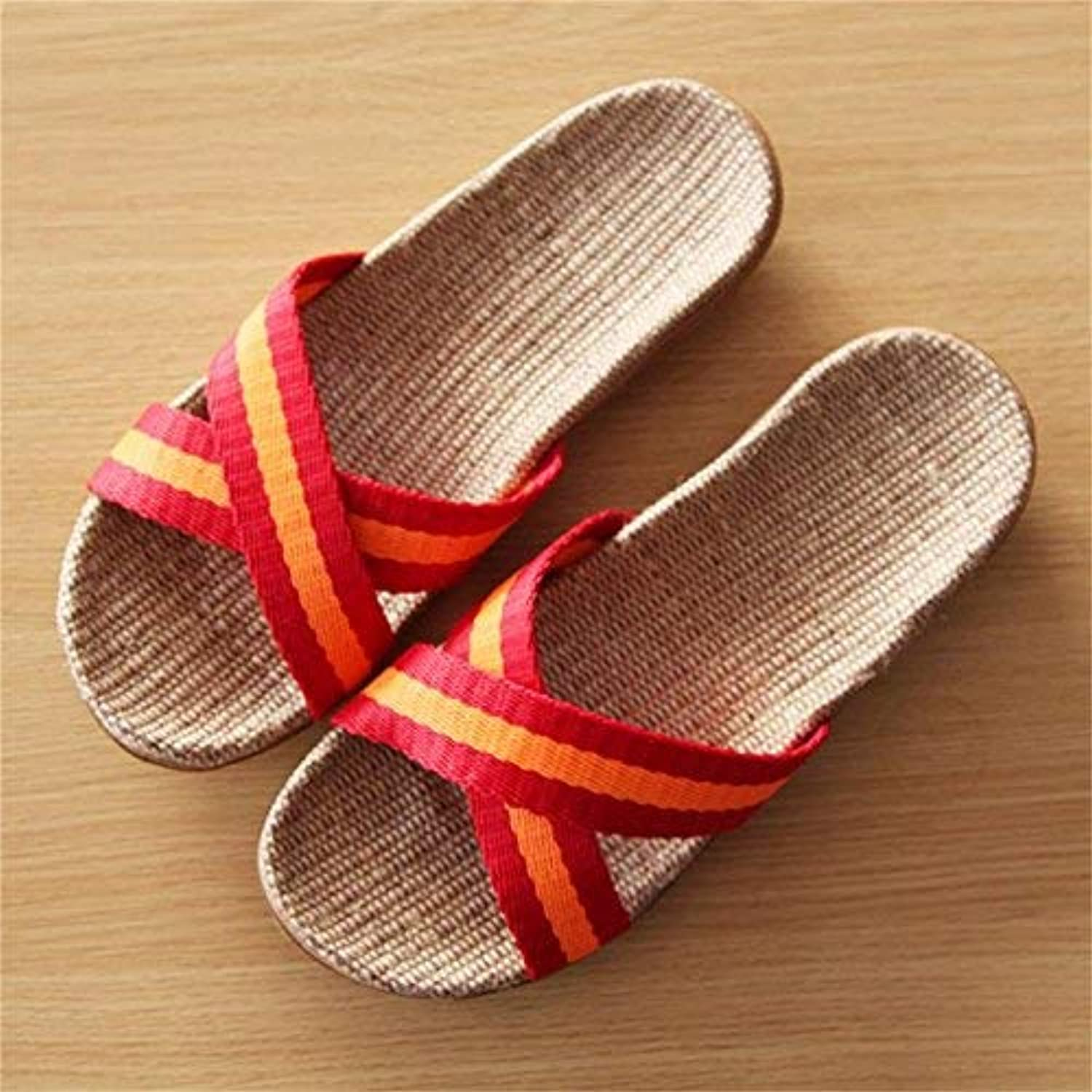JaHGDU orange pink Red Women's Casual Sandals Slippers Thick-Soled Indoor Linen Slip Home Slippers for Women