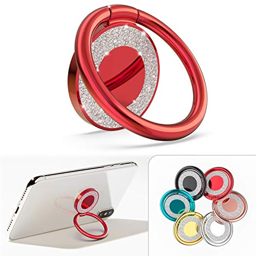 Allengel Cell Phone Ring Holder, 360 Rotation Bling Metal Finger Kickstand for Strongly Magnetic Car Mount Compatible with All Smartphone, Red