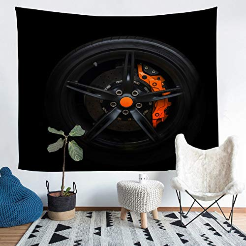 Loussiesd Race Sports Car Wheel Wall Hanging Extreme Sports Theme Tapiz moderno negro Racing Wheel Wall Blanket para niños y hombres estilo automóvil Wall Art Room Decor Picnic Sheet XLarge 69x91