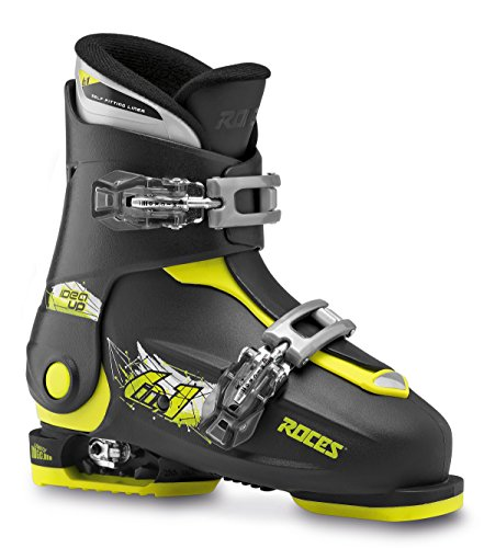 Roces Kinder Skischuhe Idea Up Größenverstellbar, Black-Lime, 30/35, 450491-018