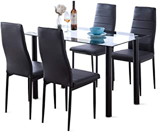 Dining Room Table Set 5 Piece Modern Tempered Black Glass Table with 4 High Back Faux Leather Dinning Chairs Set for 4