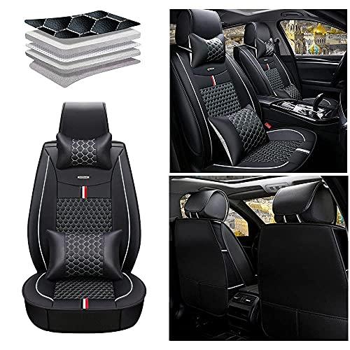 Maidao Fundas de asiento de coche para Seat Leon 2009-2018 Protector de asiento delantero de cuero artificial impermeable compatible airbag 2 asientos cojín con almohada negro blanco