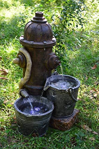 Brunnen Holz Stein Optik Wasserspiel Springbrunnen Kaskaden Dekobrunnen Garten