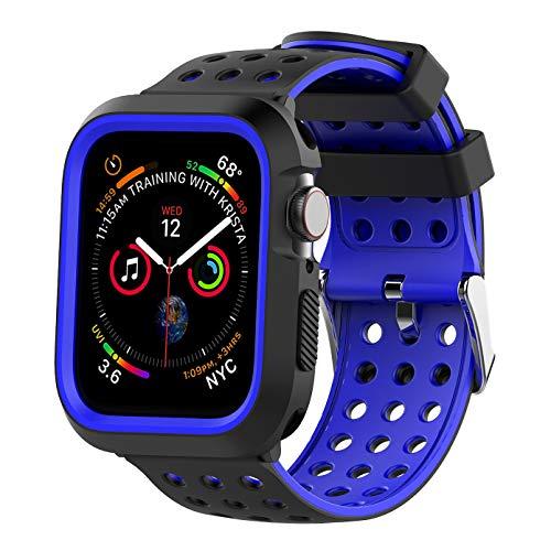 JIELIELE para Correa Apple Watch 40MM, Silicona Suave Reemplazo Sport Banda con Protector de Pantalla All-Around Funda Protectora para Apple Watch Series 4 (40mm, Black-Blue)