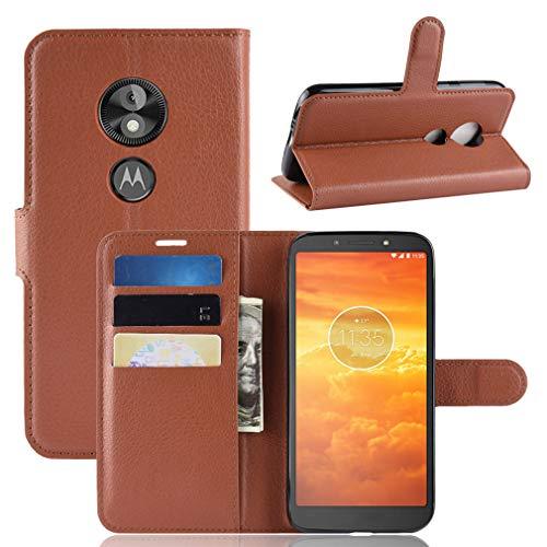 LMFULM® Hülle für Motorola Moto E5 Play (5.3 Zoll) [Fit UK Version only] PU Leder Magnet Brieftasche Lederhülle Handytasche Litschi Muster Standfunktion Ledertasche Flip Cover Braun