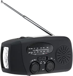 LIOOBO Emergency Solar Crank am fm Camp Radio with led Flashlight USB Output Port (Black)