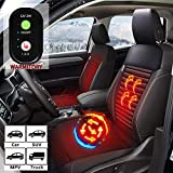 12V/24V Heated Seat Cushion Cover - Universial Seat Warmer with 3 Levels Safety Heating - Auto-Shutoff, Soothing Heat For Full Back and Seat, Seat Heater for Chair (Leatheret Black Headrest)