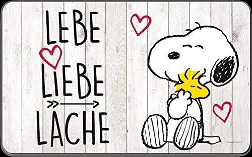 "Snoopy Brettchen \""Lebe, Liebe, Lache\"""