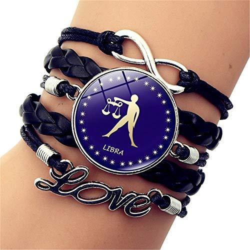 SLVVL Twaalf Constellatie Weegschaal Tijd Edelsteen Armband Liefde Letter Retro Multilayer Gevlochten Armband Sieraden