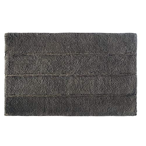 Price comparison product image iDesign Stripe Bathroom Mat,  Rectangle-Shaped Small Rug Made of Cotton,  Charcoal Grey,  53.3 cm x 86.4 cm