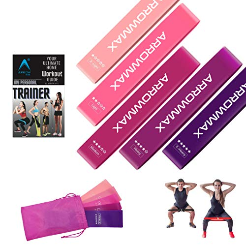 Arrowmax Workout Bands for Women Legs and Butt Resistance Loop Bands Set of 5 for Home Fitness, Stretching, Strength Training, Physical Therapy, Pilates Flexbands, Natural Latex Exercise Bands