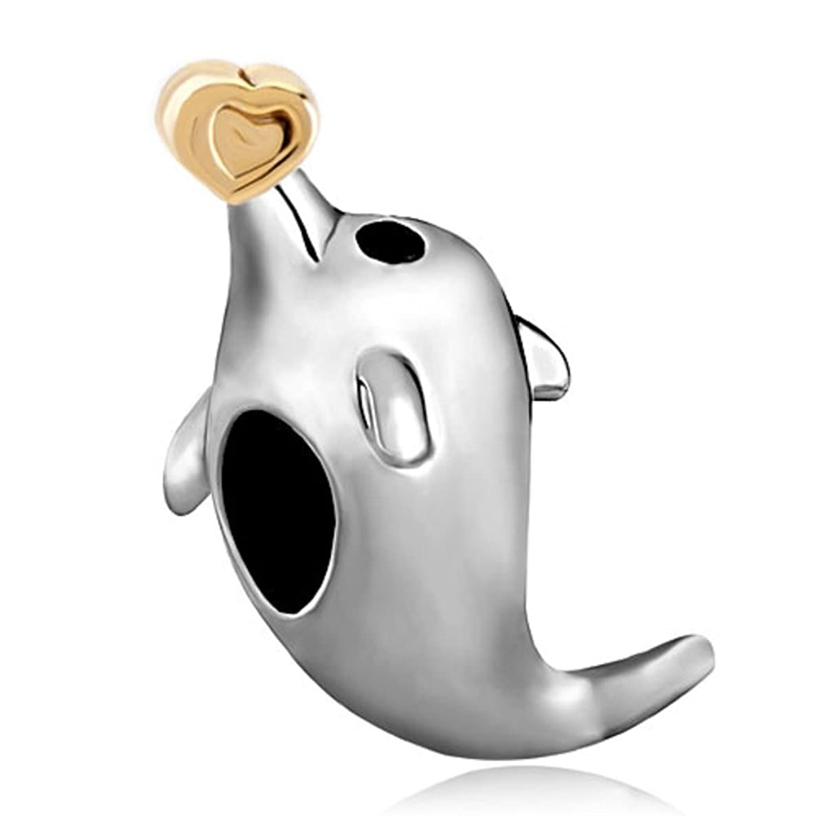 ReisJewelry Dolphin Hold Heart Charm Animal Bead For Bracelet ruly6389282221