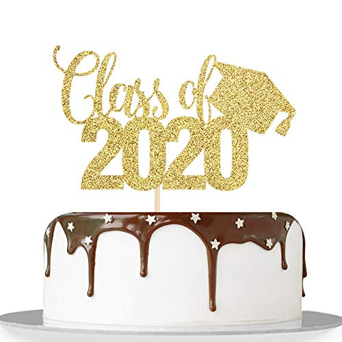 Decoración para tarta con purpurina dorada clase 2020 - Felicidades de grado 2020 - Adornos de fiesta de graduación 2020