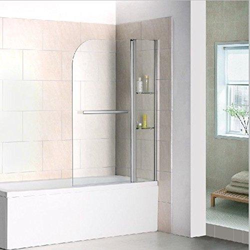 Mamparas de Bañera Abatible con Estantes Repisa de Cristal y Toallero (Abatible de Perfil) 120x140cm