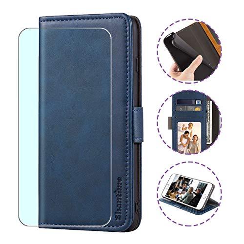 WLSM Handyhülle für LG Harmony 4 Hülle + Screen Schutzfoli, Wallet Case Handy Klapphülle Leder Flip Case Schutzhülle Handytasche mit Kartenfach Ständer Lederhülle (6.1