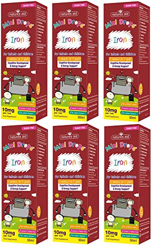 Natures Aid Iron Mini Drops for Infants and Children, Cognitive Development, Sugar Free, 50 ml (Pack of 6)