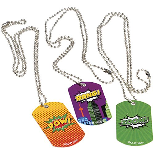 U. S. Toy Lot of 12 Assorted Metal Super Hero Comic Book Theme Dog Tags, Multicolor, One Size (JA832)