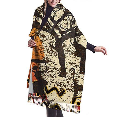 Bufanda de cachemira bohemia étnica antigua de Safari de animales africanos, chales de Pashmina, abrigos para mujer, invierno cálido, bufandas más gruesas
