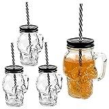 3D Totenkopf Glas Trinkglas mit Deckel und stabilem Strohhalm 500ml 4er-Set