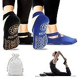 Calze da Yoga Antiscivolo Pilates Calzini Donna (2 Pairs)- Yoga Calze Traspirante Yoga Socks Calzino...