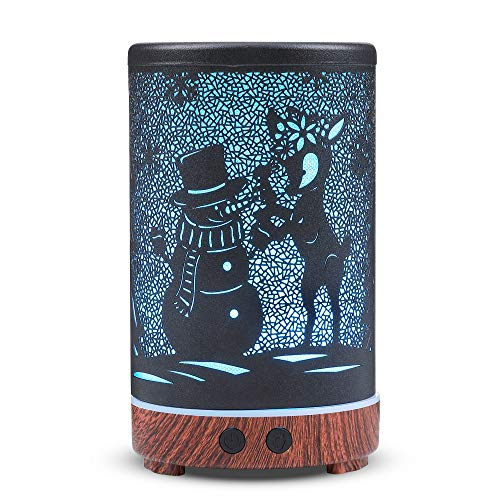 kobodon Essential Oil Diffuser, 150ml Metal Essential Oil Diffusers, Aromatherapy Diffuser with Waterless Auto Shut-Off Protection, 8 Color Changing Light, Cool Mist Humidifier(snowman)