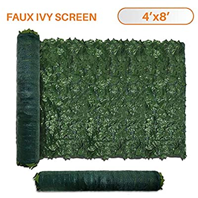 TANG Sunshades Depot 4' FT x 12' FT Artificial Faux Ivy Privacy Fence Screen Leaf Vine Decoration Panel with 130 GSM Mesh Back