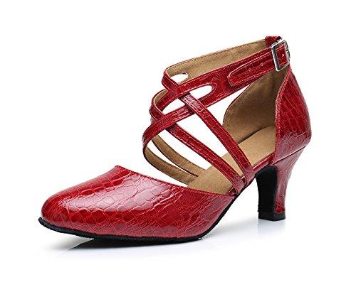 Honeystore Neuheiten Frauen's PU Leder Heels Absatzschuhe Moderne Latein-Schuhe mit Knöchelriemen Tanzschuhe LD0175 Rot 43 CN