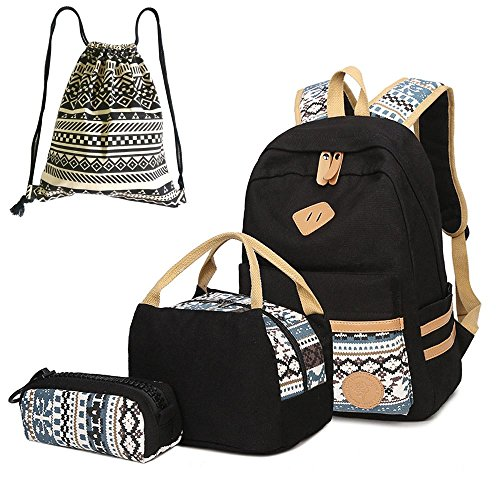 Neuleben Schultaschen 4 Set Schulrucksack + Kühltasche + Federmäppchen + Beutel aus Canvas für Damen Mädchen Kinder (Schwarz)