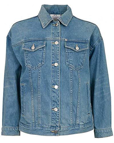 ARMANI EXCHANGE 11,5 Ounces Cotton Giacca in Jeans, Blu (Indigo Denim 30), 44 (Taglia Produttore: 24) Donna