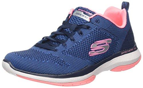 Skechers Burst TR-Close Knit, Zapatillas para Mujer, Azul (Navy/Coral), 38 EU