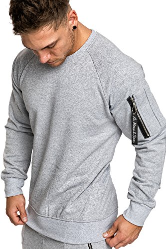 Amaci&Sons Herren Cargo Pullover Sweatshirt Hoodie Sweater Camouflage 4006 Grau XL