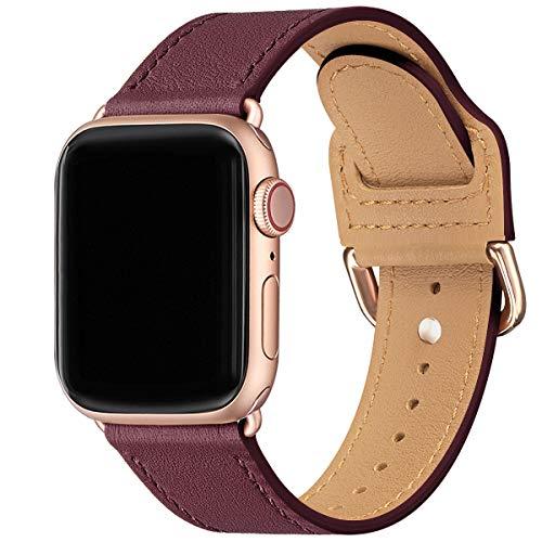MNBVCXZ Armband Kompatibel mit Apple Watch 38 mm 40 mm 42 mm 44 mm,Dünn und leicht Lederband Ersatzband,Mehrere Farbbänder für die iwatch Serie 5/4/3/2/1 (38mm 40mm, Wein Rot/Roségold)