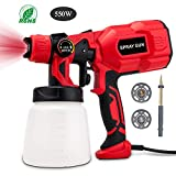 BOZILY Paint Sprayer, 550 Watt High Power HVLP Home Electric Spray Gun, 3 Adjustable Spray Patterns, Lightweight, Easy Spraying and Cleaning