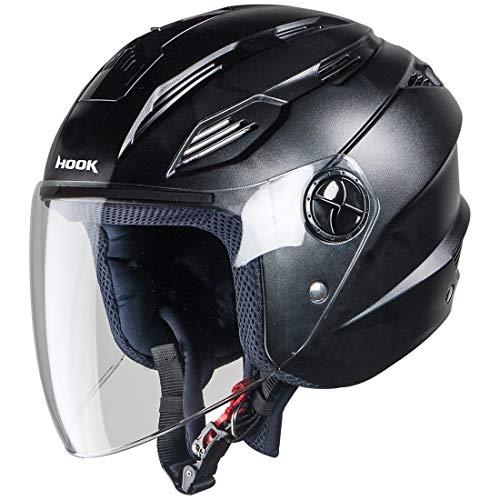 Steelbird SBA-6 Hook Dashing Open Face Helmet (Medium 580 MM, Dashing Black...