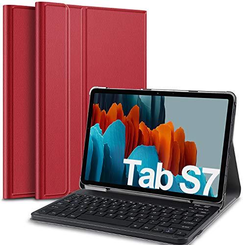 IVSO Keyboard Case for Samsung Galaxy Tab S7 (QWERTY), for Samsung Galaxy Tab S7 11 Keyboard, Keyboard Case with Detachable Wireless Keyboard for Samsung Galaxy Tab S7 (SM-T870/875) 11 2020, Red
