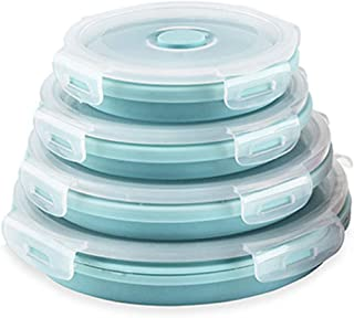 CARTINTS Silicone Collapsible Food Storage Containers-Prep/Storage Bowls with Lids � Set of 4 Round Silicone Lunch Containers � Microwave and Freezer Safe (Blue)