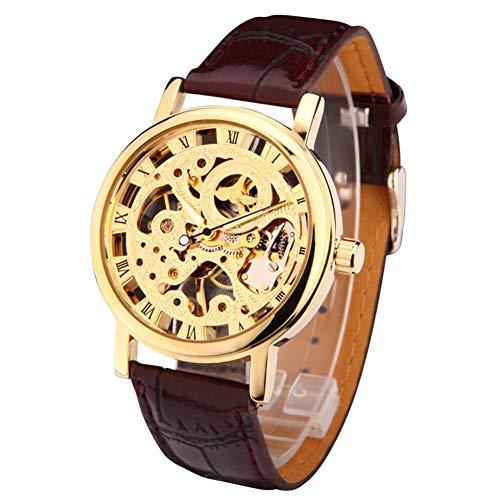 MDHANBK Reloj de Pulsera analógico mecánico de Cuerda para Hombre y Mujer con Esqueleto Hueco de Tono Dorado, Banda de Cuero marrón, Regalo, Precio al por Mayor A368