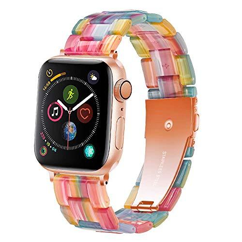 Light Compatible con Correa de Reloj Apple 38mm 40mm, Correa de Repuesto de Resina Para iWatch Series SE 6 5 4 3 2 1(Rainbow,38mm/40mm)