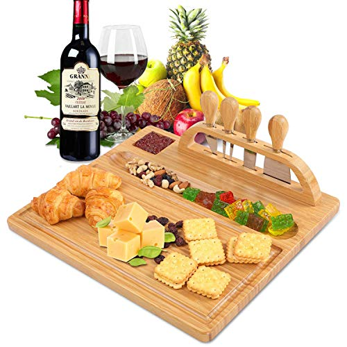 Utoplike Bamboo Cheese Board and Knife Set, Cheese Plates and Cheese Serving Tray for Wine, Crackers, Distinctive Gift, Birthday Anniversary, Wedding Housewarming Gifts