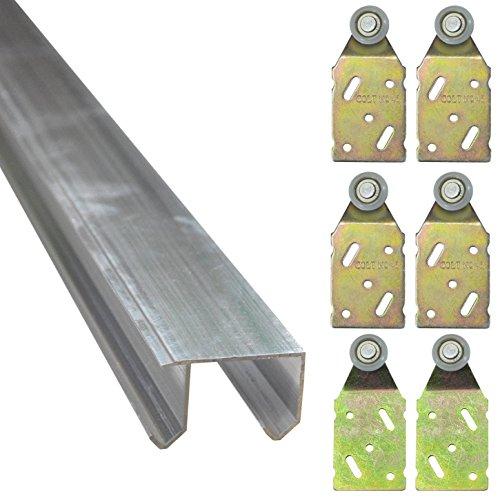 Doppel Laufschiene aus Aluminium in 3 verschiedenen Längen Führungsschiene (Komplett-Bausatz für 3 Türen mit 3m Schiene - 1*30135+4*30130A+2*30130B)