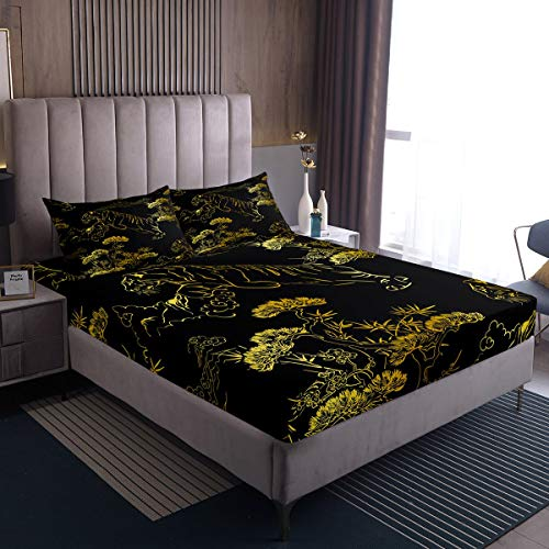 Juego de sábanas de tigre con estampado de gato de safari para niños y niñas, juego de cama con diseño de árbol tropical, juego de cama individual con 1 funda de almohada, 2 piezas