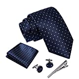 Massi Morino ® Cravatta uomo + Gemelli + Fazzoletto (Set cravatta uomo) regalo uomo con confezione regalo (Blu scuro puntini)