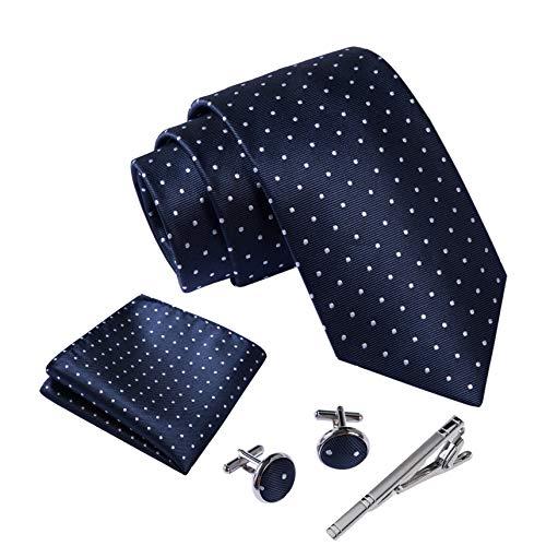 Massi Morino ® Herren Krawatte Set mit umfangreicher Geschenkbox blau blaue dunkelblau naviblau marineblau ozeanblau arktikblau pazifikblau blauekrawatte dunkelblauekrawatte gepunktet Punkte